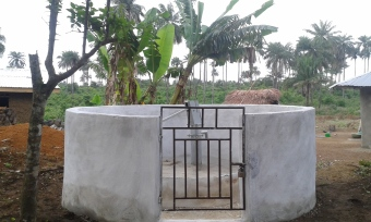 An example of a water well provided to support communities by CAFOD and our partners in Sierra Leone and Liberia.