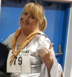 CAFOD Fun Run, Angela Pender wins fancy dress for ABBA costume!